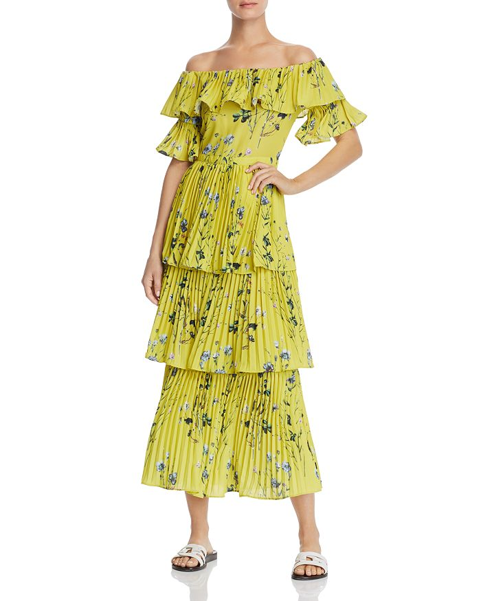 AQUA - Pleated Tiered Floral Maxi Dress - 100% Exclusive