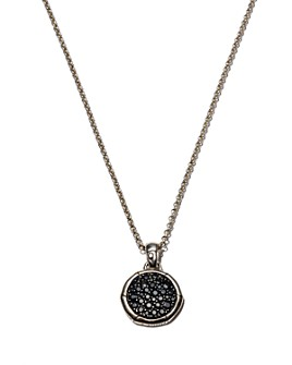 JOHN HARDY - Bamboo Silver Small Round Pendant with Black Sapphire on Chain Necklace, 18""