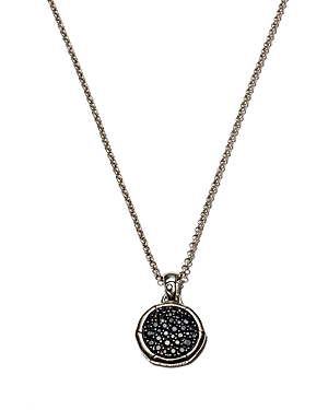 John Hardy Bamboo Silver Small Round Pendant with Black Sapphire on Chain Necklace, 18