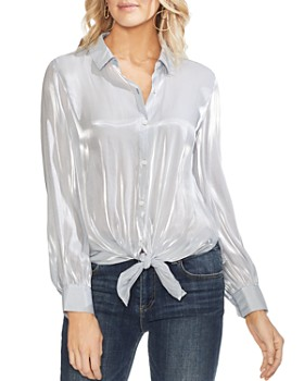 52b3c15b428 VINCE CAMUTO - Striped Organza Tie-Front Blouse ...