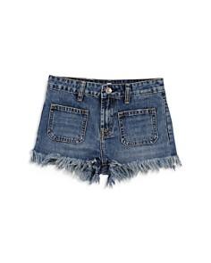 7 For All Mankind - Girls' Frayed Hem Denim Shorts - Big Kid