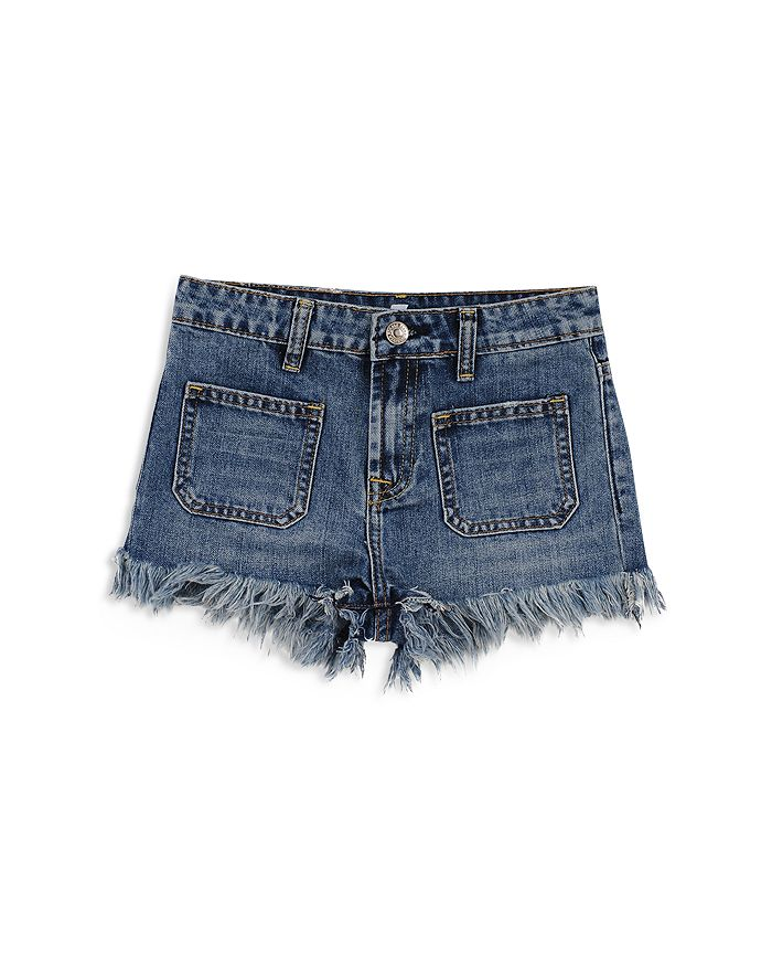 7 For All Mankind - Girls' Frayed Hem Denim Shorts - Big Kid