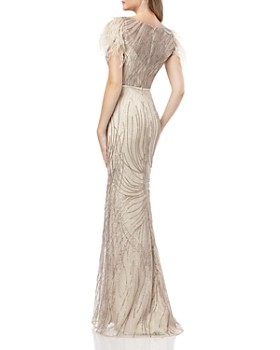 Carmen Marc Valvo Infusion -  Embellished Fluted Gown