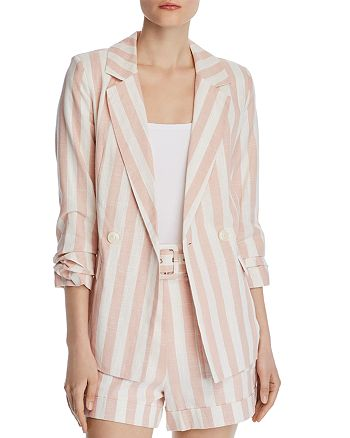 CHRISELLE LIM - Ruched Double-Breasted Striped Blazer