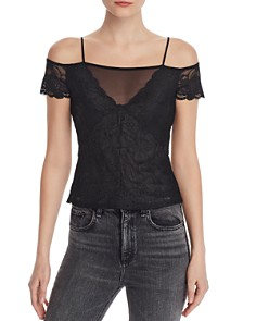 GUESS - Cia Cold-Shoulder Lace & Mesh Top