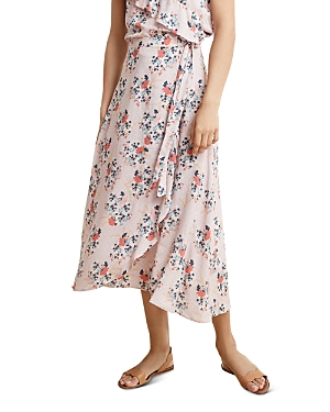 Velvet By Graham & Spencer Skirts VELVET BY GRAHAM & SPENCER ISADORA FLORAL-PRINT FAUX-WRAP SKIRT