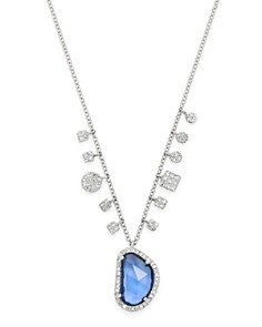 Meira T - 14K White Gold Diamond & Blue Sapphire Pendant Necklace, 18""