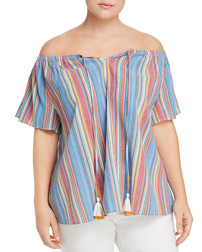 Seven7 Jeans Plus - Striped Off-the-Shoulder Top