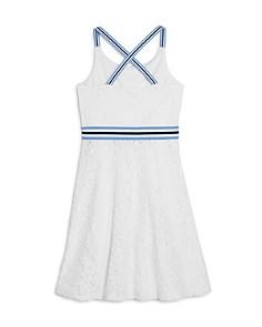 US Angels - Girls' Striped-Trim Lace Dress - Big Kid