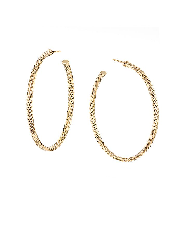 David Yurman - 18K Yellow Gold Large Cable Spiral Hoop Earrings