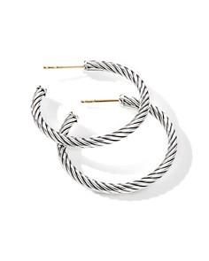 David Yurman - Sterling Silver Cable Spiral Hoop Earrings