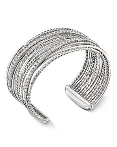 David Yurman - Sterling Silver Crossover Cuff Bracelet with Diamonds