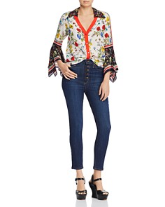 Alice and Olivia - Randa Bell-Sleeve Mixed Floral Blouse