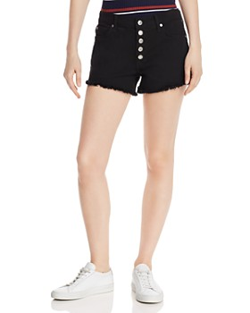 7 For All Mankind - High-Rise Cutoff Denim Shorts in Pitch Black 2
