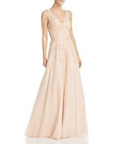 Avery G - Floral-Embellished Ball Gown