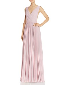Fame and Partners - Strap-Detail Pleated Gown