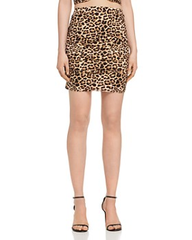 179428bfc6b AQUA - Ruched Leopard Print Skirt - 100% Exclusive ...