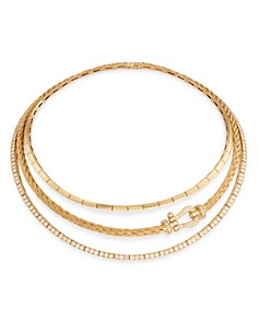 """Fred - 18K Yellow Gold Force 10 Multi-Row Necklace, 16.15"""""""