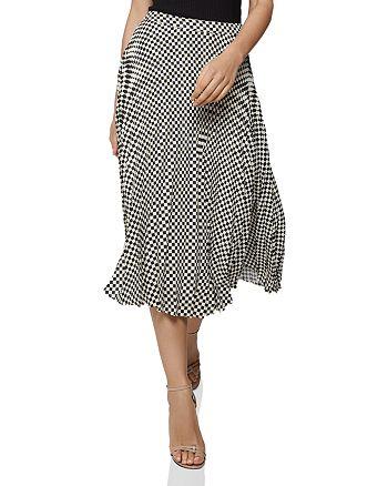 REISS - Abigail Pleated Checker-Print Skirt