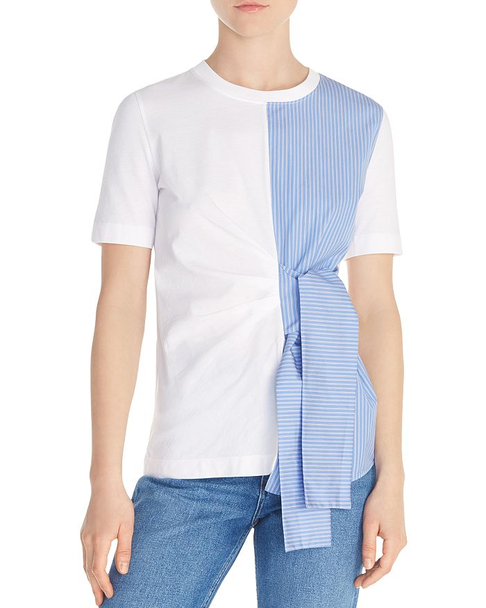 Sandro - Norman Color-Blocked Tie-Detail Tee