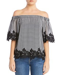 Bailey 44 - Truffle Gingham Off-the-Shoulder Top