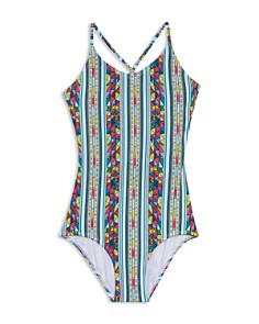Gossip Girl - Girls' Geo Print 1-Piece Swimsuit - Big Kid