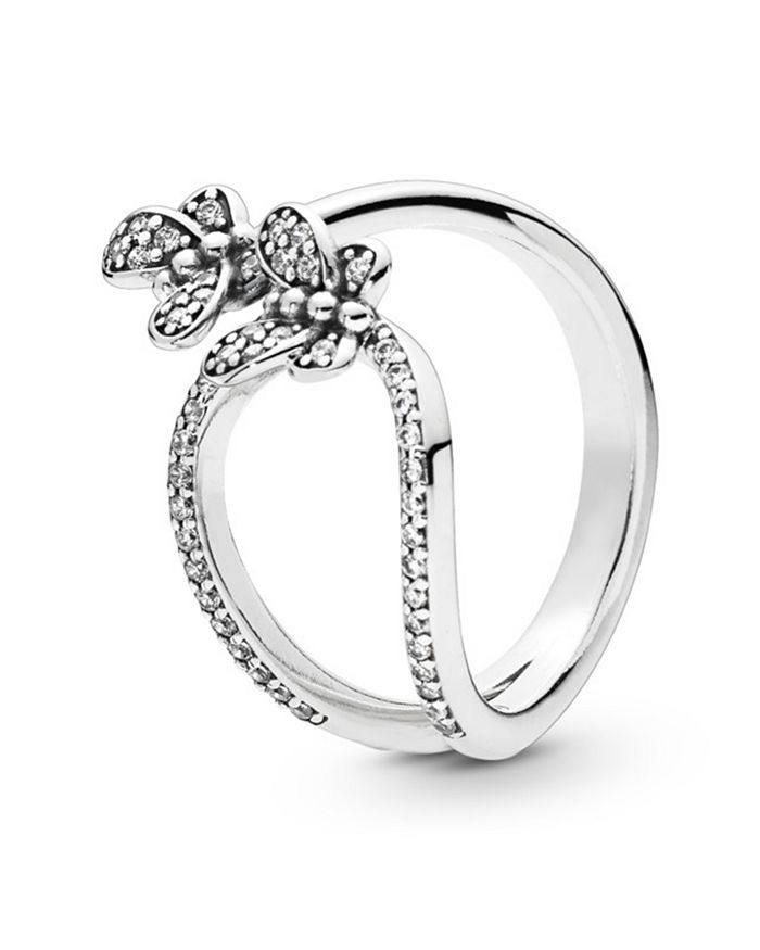 9f84319dd7876 Sterling Silver & Cubic Zirconia Open Butterfly Ring