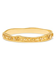 Temple St. Clair - 18K Yellow Gold Medium River Wave Bangle Bracelet with Diamonds
