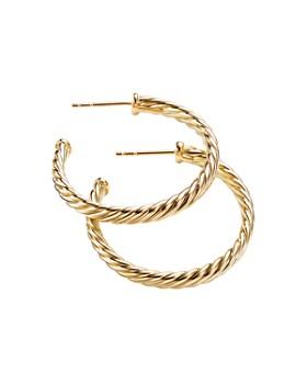 David Yurman - 18K Yellow Gold Cable Hoop Earrings