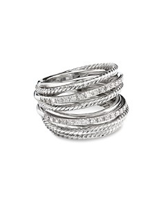 David Yurman - Sterling Silver Crossover Wide Ring with Diamonds