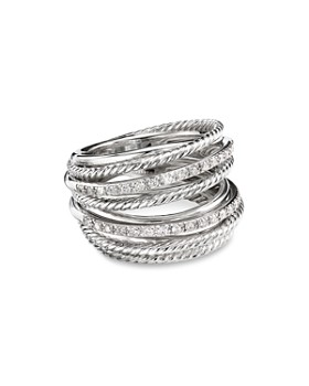 7bbe640acd840 David Yurman - Sterling Silver Crossover Wide Ring with Diamonds ...