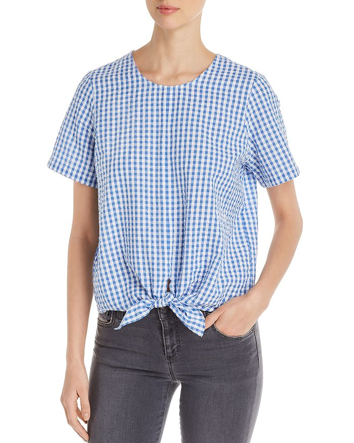Finn & Grace - Textured Gingham Tie-Front Top
