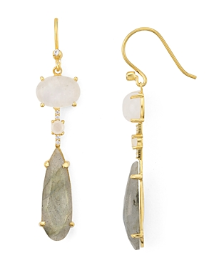 Argento Vivo Accessories MULTI STONE DROP EARRINGS IN 14K GOLD-PLATED STERLING SILVER