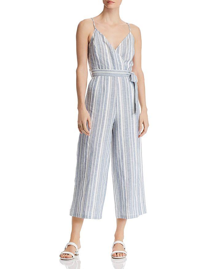 AQUA - Striped Cropped Wide-Leg Jumpsuit - 100% Exclusive