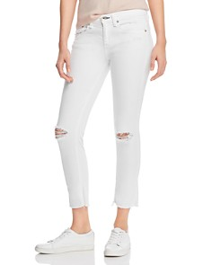 rag & bone/JEAN - Dre Distressed Cropped Slim Boyfriend Jeans in White