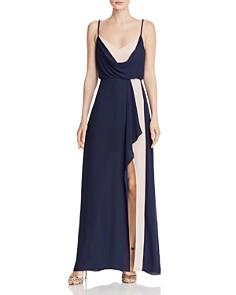 BCBGMAXAZRIA - Draped Color-Block Gown