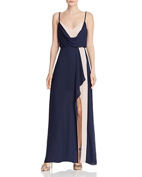 BCBGMAXAZRIA - Draped Color-Block Gown