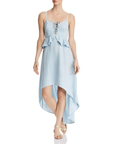 GUESS - Lace-Up High/Low Chambray Dress