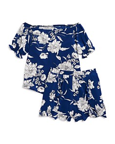 AQUA - Girls' Floral Ruffle Top & Shorts, Big Kid - 100% Exclusive