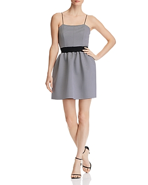 Aqua Striped Neoprene Fit-and-Flare Dress - 100% Exclusive