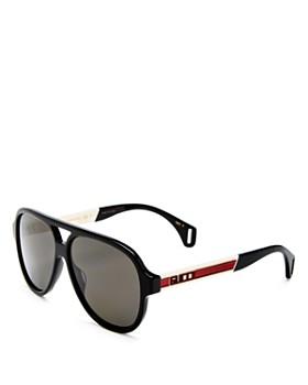 Gucci - Men's Polarized Brow Bar Aviator Sunglasses, 58mm