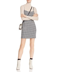 Fame and Partners - Plaid Cross-Strap-Back Mini Dress