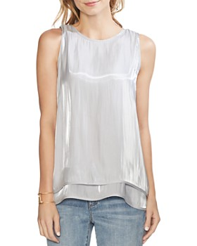 VINCE CAMUTO - Sleeveless Iridescent Double-Layer Top