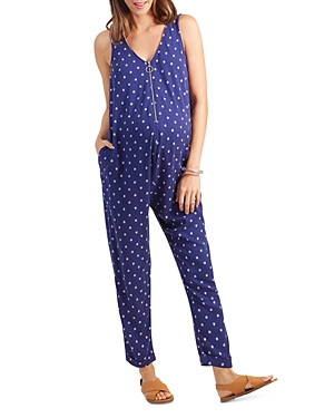 Maternity Printed Zip Front Jumpsuit