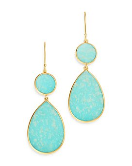 IPPOLITA - 18K Yellow Gold Polished Rock Candy Turquoise Circle Teardrop Drop Earrings