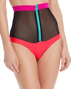 CHROMAT - Laverne Color-Blocked Mesh Zip Bikini Bottom