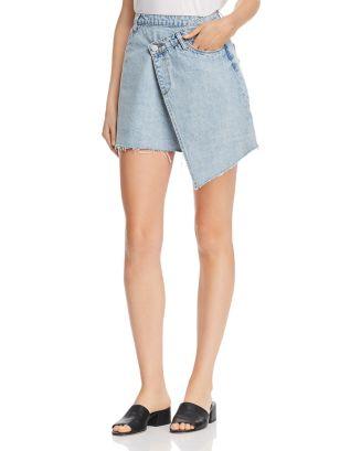 Crossover Denim Mini Skirt by Blanknyc