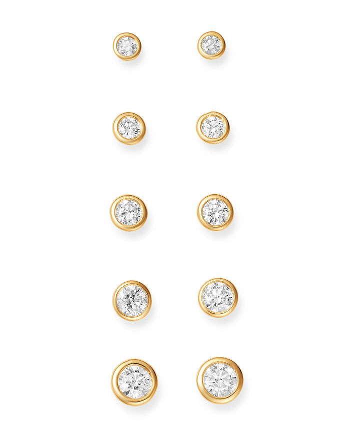 Bloomingdale's - Diamond Bezel Stud Earrings in 14K Yellow Gold, 0.33-1.0 ct. t.w. - 100% Exclusive