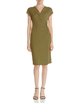 T Tahari - Printed Faux-Wrap Dress