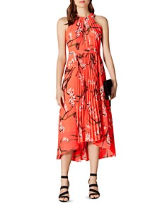 KAREN MILLEN - Pleated Floral Midi Dress